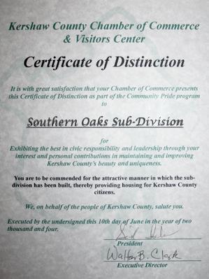 Bock Realty Camden Community Certificate